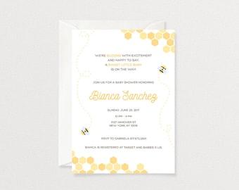 Bee Baby Shower Invitation | Gender Neutral Baby Shower Invitation | Customized Printable Invitation