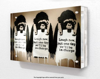 Banksy - Monks - Acrylic Block Photo Frame