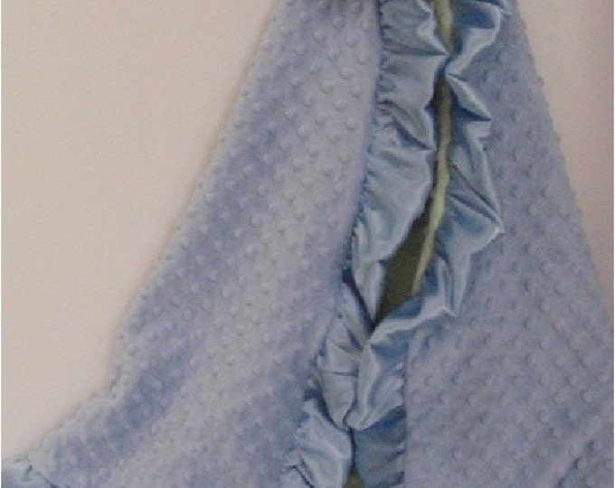 Blue Dot and Sage Dot Minky Baby Blanket with Personalization