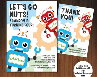 Robot Invitation | Robots | Robot Invite | Robot Birthday | Robot Birthday Party | Custom Printable | Let's Go Nuts | Self editable pdf