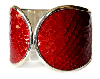 Glossy Red Snakeskin Leather Capped Cuff Bracelet - by UNEARTHED