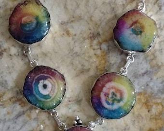Rainbow Solar Quartz Slice Necklace