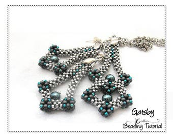 Beading Pattern, Instructions, Tutorial, Cubic Right Angle Weave Pendant and Earrings  Instructions,Instant Download Pattern, GATSBY