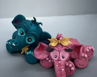 Polymer Clay Elephant Figurines - Set of 2, Blue & Pink