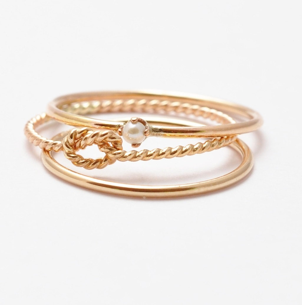 Thin Gold Rings: Seed Pearl Ring Yellow Gold Band Twist Knot