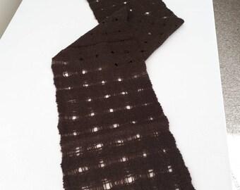 Hand Spun, Hand Woven, Scarf, Natural Chocolate Brown Coloured Merino Lamb's wool