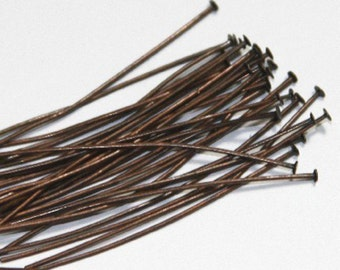 100 Antiqued Copper headpin 2inch long - 22 gauge