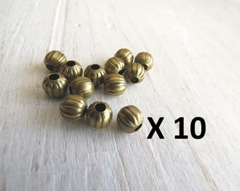 X 10 inserts beads metal bronze, carved decoration