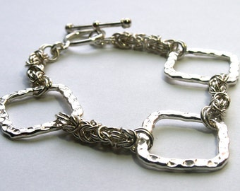 Sterling Silver Byzantine Chainmaille Geometric Bracelet