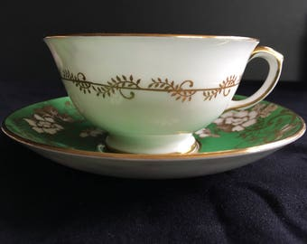 Vintage Crown Staffordshire England Fine Bone China Cup and Saucer
