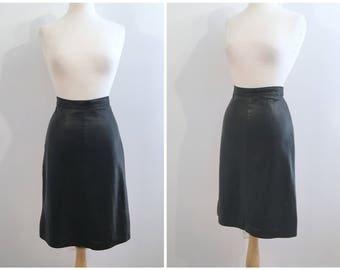 Vintage BLACK LEATHER SKIRT / size Medium