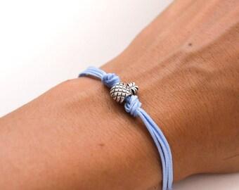 Pineapple bracelet, blue cord bracelet with a silver pineapple charm, fruit bracelet, summer jewelry, gift for her, minimalist, friendship