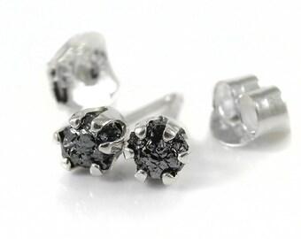 3.5mm Rough Diamond Post Earrings Sterling Silver - Raw Uncut Diamonds - Jet Black Diamonds - 6-prong Ear Studs