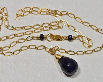 Naturla Sapphire Simple Necklace Pendant 14 K Gold Filled Wire Birthstone Jewelry Gemstone Necklace
