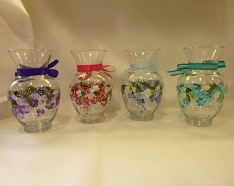 Hand Painted Glass Vase Purple Lavender Pink Fushia Blue Turquoise Hydrangeas Daisies