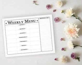 Rustic Printable Menu Planner - Rustic Daily Menu Planner Sheet - Grocery List Planner