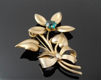 Repurpose Or Repair Large Flower Brooch Sterling Silver 925 Green Stone Brooch Vermeil Gold Wash Brooch