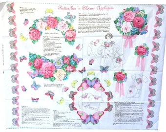 Vintage Fabric Panel, Butterflies N Blooms Applique, Cranston Print Works, Cut & Sew, Fabric Appliques, Flower Appliques, Butterfly Applique