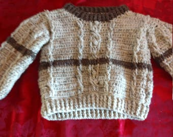 Cable crochet boys sweater