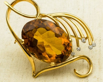 Freeform Abstract 18K Yellow Gold 35.00ct Natural Oval Large Faceted Citrine Gemstone & Diamond Accented Antique Brooch Pin FREE SHIPPING!