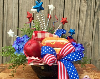 Summer Centerpiece For Table, Memorial Day Centerpiece, Memorial Day Decor, Forth of July Decor, 4th of July Decorations, Summer Centerpiece