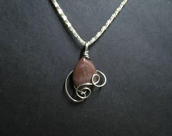 Wire Wrapped Purple Aventurine Stone Necklace