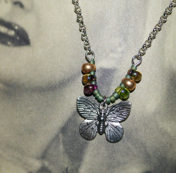 Butterfly Necklace, Silver Butterfly Charm, Bead Butterfly Pendant, Summer Jewelry, Pretty Insect Necklace, Simple Jewelry, Flying Butterfly