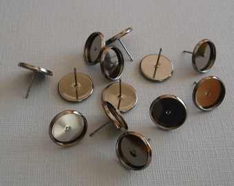 10pcs- Earring Cabochon Settings, 12mm Cabochon Tray, Earr Post, Gun Metal Plated Brass.
