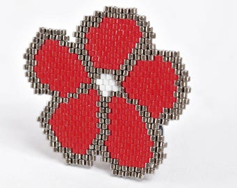 Woven with Japanese glass beads brooch