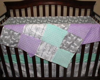 Girl Crib bedding- White Gray Arrows, Gray Deer, Lilac, and Mint Crib Bedding Ensemble with Blanket or Patchwork Blanket
