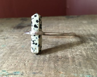 Double- Terminated Dalmation Jasper & Sterling Silver Adjustable Cuff