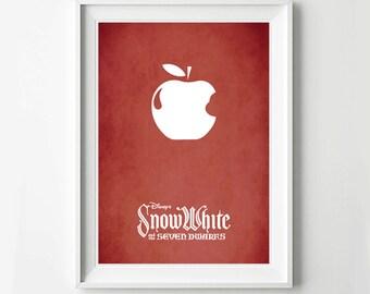Disney Snow White Movie Poster - Minimalist print, Digital Art Print, Disney Decor, Disney Gift