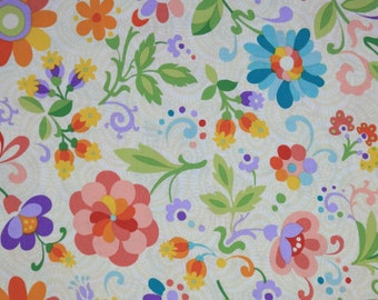 Floral Cream Multicolor Fabric, Jessica Cream multi, Mix and Math Collection, Benartex Fabrics, Floral Cotton Quilting Fabric by the yard