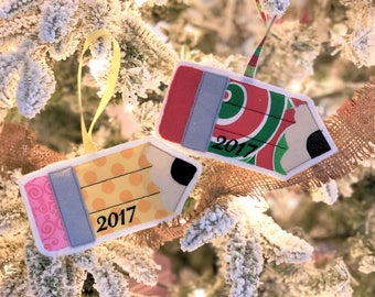 Pencil Ornament - Gift Card Holder - Teacher Pencil - Personalized - Gift Card Sleeve - Christmas Ornament - Teacher Gift - Christmas Gift
