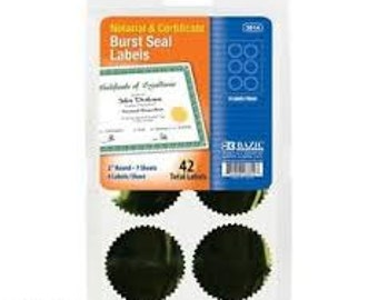 """SALE 2"""" Round Gold Burst Seals. Notarial and Certificate Seals. 2"""" Round Gold Seals. Notary Seals Gold"""