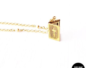 Gold Chain Necklace - Czech Glass Beads, Brass - The Basics: Cross Bible Locket
