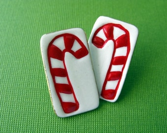 Red Candy Cane Porcelain Post Earrings Hnadmade Ceramic Jewelry