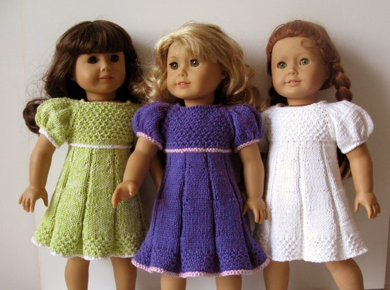 knitted American Girl 18 inch doll Pleated summer DRESS