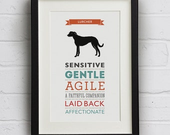 Lurcher Dog Breed Traits Print