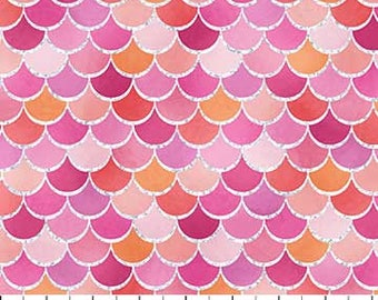 Glitter Pink Mermaid Scales from Northcott Fabric's Mermaid Wishes Collection