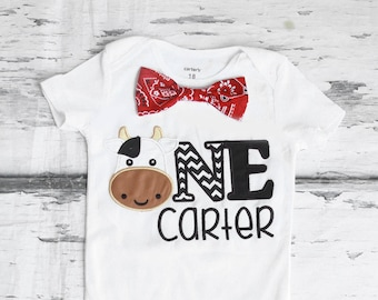 Boy first birthday Cow Western 1st birthday bandana bow tie set cake smash outfit Boy first birthday Boy number 1 Cow ONE rodeo first bday