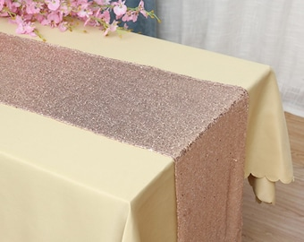 Pack of 5 Glitter Sequin Rose Gold Table Runners Engagement Wedding Banquet Ceremony Feast Birthday Anniversary Party Dining Table Decor