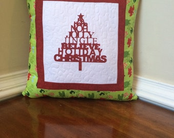 Quilted Christmas pillow, quilted Christmas tree pillow