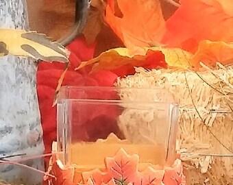fall candle holder, leaf candle holder, fall decor