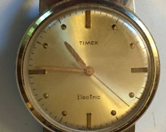 SALE Vintage TIMEX Electric Man's Watch Waterproof Back Set Wristwatch 1960s-70s Midcentury Gold Tone Electric Watch