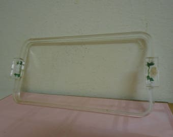 Stunning 1940's Lucite Bathroon Accessory Tray / White Roses!