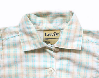 vintage boys shirt levi strauss plaid button down childrens pastel toddler turquoise clothing size 3t