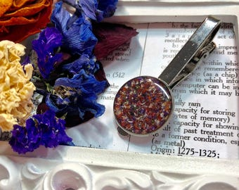 Memorial flower tie bar made with dried funeral flowers