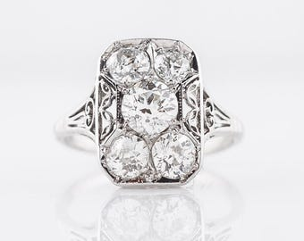 Antique Right Hand Ring Art Deco 1.27 carats of Old European Cut Diamond in 18k White Gold