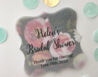 Bridal Shower Favor Tags, Transparent Vellum and Printed Background Tags, Custom Thank You Shower Favor Tags (FS-624-T006-V)